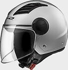 LS2 OF562 MOTORCYCLE SCOOTER AIRFLOW FLIP VISOR ADULT OPEN FACE HELMET SILVER
