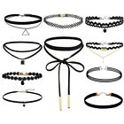 Black Choker Necklace Set Stretch Velvet Classic Gothic Tattoo Lace Retro UK