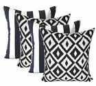 Qty 4 - In / Outdoor Black White Stripe & Black White Aztec Pillows, Choose Size
