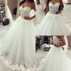 sexy Tulle lace A-line White/Ivory Wedding Dress Bridal Gown custom US Size 4-20