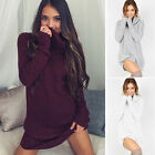 Fashion Womens Jumper Knitted Bodycon Warm Turtleneck Sweater Short Mini Dress