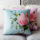 18x18'' Idyllic Country Rose Pink / Blue Flower Floral Suede Cushion Cover