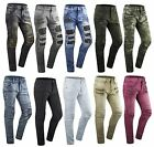 Mens ripped Skinny Stretch Biker Zipper pants Jeans distressed jeans