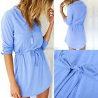 Vintage Womens Long Sleeve Long T shirt Casual Evening Party Cocktail Mini Dress