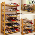 Home 2/4/6 Tier Wood Shoes Cabinet  Bamboo Dust-proof  Racks Shelves Organisers