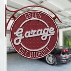Garage Plaque Two Line Personalized Double Sided Hanging sign w/bracket