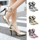 Womens Strap Cross Pointy Toe Stilettos High Heels Dress Shoes Plus Size Sandals