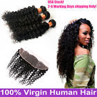 """13×4"""" Lace Frontal Closure With 3 Bundles 7A Brazilian Curly Virgin Human Hair"""