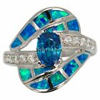 Sterling Silver Blue Lab Created Opal Light Blue CZ Ring