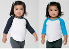 American Apparel 3/4 Raglan Sleeve T Shirts Tee Unisex Toddler Infant Soft