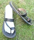 100% MOROCCAN LEATHER  TOE LOOP BEACH SANDALS BLACK * 6 sizes available