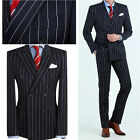 BLACK Striped DoubleBreasted Lounge Suit Dress Code Wedding Formal best suits UK