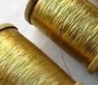 Vin. Wooden Spools of Gold Metallic Flat Thread French