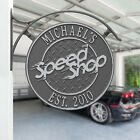 Speed Shop Two Line Personalized Double Sided Hanging sign w/bracket