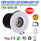6X 10W FIRE RATED LED DOWNLIGHTS KITS DIMMABLE 70MM CUTOUT WHITE & SATIN CHROME