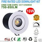 6X Fire Rated IP65 Waterproof 10W Dimmable Recessed CREE COB LED Downlights Kits
