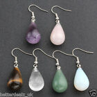 Lady Women Natural Gemstone Teardrop Dangle Ear Studs Drop Hook Earrings Jewelry