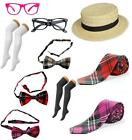 Tartan Bow Tie School Girl Tie Glasses Hat Geek Fancy Dress Accessory