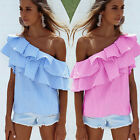 Fashion Womens Off-shoulder Long Sleeve Casual Blouse Loose Stripe Tops T-Shirt