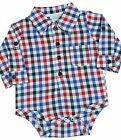 BabyPrem Boys Baby Clothes One-Piece All-in-one Checked Shirt Top Vest NB-6