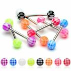 1 x Checkered Tongue Nipple Bar Barbell 14GA (1.6MM ) Sizes From 6MM to 35MM