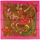 NEW Authentic Hermes Silk Scarf LE TIMBALIER - Pink Brown - Francoise Heron