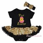 First Easter EGG Chick Black Bodysuit Bling Gold Fish Scale Baby Dress NB-18M