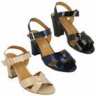 LADIES WOMENS SPOT ON HIGH BLOCK HEEL BUCKLE X STRAP EVENING SANDALS F10170