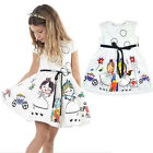 2-8Y Toddler Baby Girls Cartoon Floral Tutu Dress Party Pageant Princess Dresses