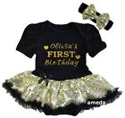 Baby Sparkle Personalized Name First Birthday Black Sequin Bodysuit Tutu Dress