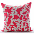 """Pink Cotton Linen 26""""x26"""" Sea Weeds Lace Euro Pillow Shams - Coral Of The Beach"""