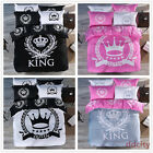 Cotton King Queen Crown Bedding Set Duvet Cover Fitted Sheet  Bedclothes 3/4pcs