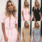 UK Womens Bodycon Short Sleeve Zipper V Neck Ladies Casual Evening Paty Dress
