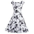 Women Vintage Syle 1950s Floral Prints Party Prom Housewife Dress Cocktail Dress