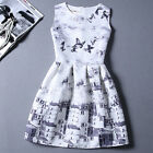 New Summer Women's Grey Butterfly Printed Sleeveless Party Mini Dress Q803