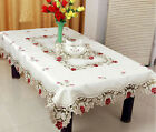 Home hotel dining/wedding White Red Table Cloth with Lace Jacquard Floral Rectan