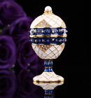 Quality Metal Painted Faberge Russian Egg European Easter Trinket Jewellery Box