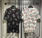 New Overall Ghost Star Graphic Printed Short Sleeve T-Shirts Navy White Streetwe