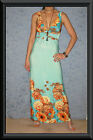 Mint & Orange Floral Border Print Dramatic Low V Neck Long Races MAXI Dress