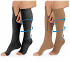 20-30 mmHg Medical Compression Socks, Open Toe ,Zippered Knee-High Stockings