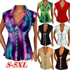 Women's Fashion Short Sleeve Tank Vest Lapel Print Casual Tops Blouse Plus Size