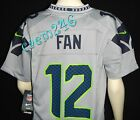 RARE GRAY Seattle SEAHAWKS Nike 12th Man FAN Jersey #12 Boys Youth M or L