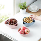 Fruit Candy Holder Tray Snack Nut Split Double Bowl Dish Decor Wheat Straw Bowl