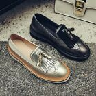 Women Fashion Real Leather Brogue Tassel Slip On Casual Dress Flat Shoes Size