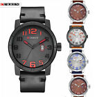Curren 8254 Leather Band Casual Quartz Analog Men's Wristwatch with Date