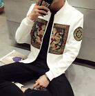 Men's Stand Collar Black Robes Jacket Embroidery Korean Casual Outwears Coat New