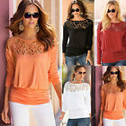Womens Embroidery Casual Long Sleeve Shirt Tops Loose Blouse Ladies Lace Casual