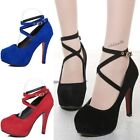 New Fashion Womens Platform Ankle Strap Stiletto Suede Pumps High Heels Shoes