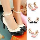 Womens Party Patent High Heels Stiletto Ankle Buckle Party Platform Pumps Shoes