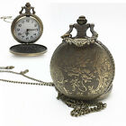 Classic Men Bronze Tone Spider Web Design Necklace Pendant Fob Pocket Watch Gift